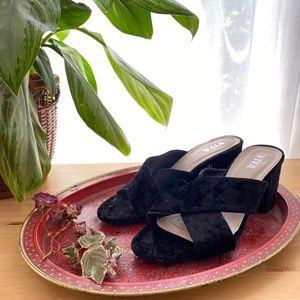 Viva Open-Toed Velvet Heels